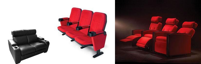 Fauteuils cinéma, motorisés ou non, type théâtre, loveseat 2 places pour votre salle de cinéma privée.